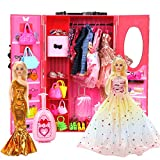 BiiMii 150 Pack Doll Closet Wardrobe Set Contain 19 Pack Complete Clothes and 131 Pieces Doll Accessories - Wardrobe, Shoes, Necklace, Bags and More for 11.5 Inch Doll