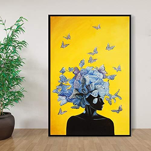 wZUN Chica Abstracta con Mariposa Lienzo Pintura Cuadro de la Pared ruibarbo Arte de la Pared Arte de la Lona en la Sala de Estar del Hotel 60x80 Sin Marco