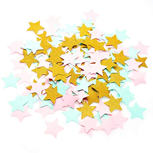 Pink and Gold Five Stars Table Confetti Decor - Mint Green Twinkle Stars Confetti 1st Birthday Baby Shower Nursery Party Sequins Wedding Bridal Shower Party Confetti Sprinkles Decorations, 200pc