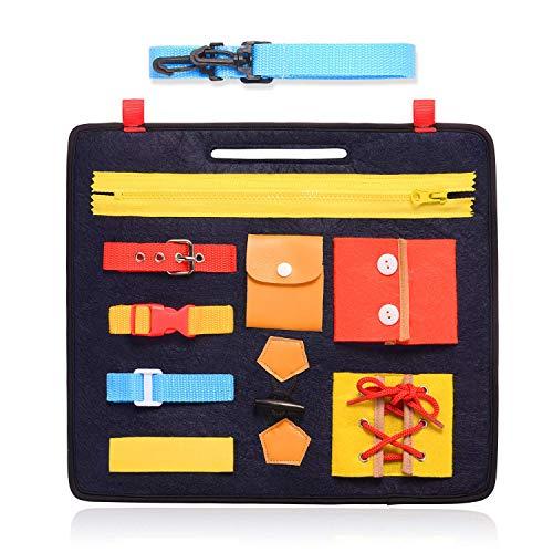 penobon Tablero de Actividades de Habilidades Básicas Montessori para Habilidades Motoras Finas y Aprender a Vestirse - Juguetes Educativos de Aprendizaje para Niños Pequeños de 1 2 3 4 Años