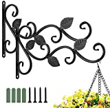 Luxspire Hanging Plant Hooks 2 Pack, Iron Leaf Pattern Planter Flower Pot Lantern Bird Feeder Wind Chimes Holiday Decoration Hanger for Indoor Outdoor Patio Lawn Garden Balcony