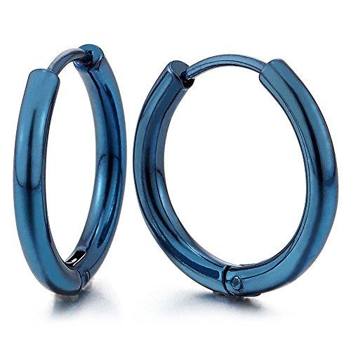2 Azul Círculo Pendientes del Aro, Pendientes para Hombres Mujer, Acero Inoxidable(12MM)