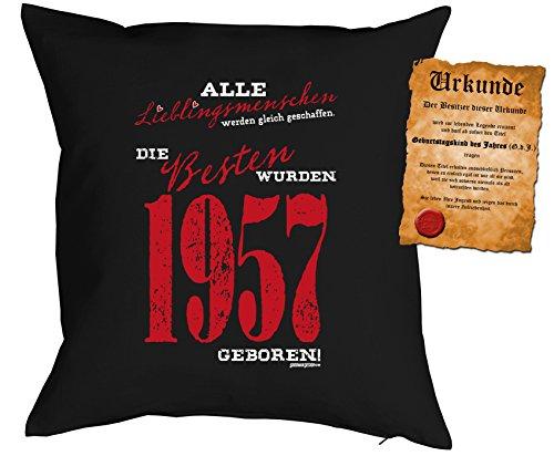 Kissen zum 59. Geburtstag Geschenkidee Kissen mit Füllung Lieblingsmensch 1957 geboren Polster zum 59 Geburtstag für 59-jährige Dekokissen mit Urkunde