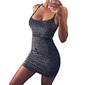 VANCOL Women's Sexy Glitter Spagetti Straps Lace Up Back Bandage Bodycon Mini Club Party Dress