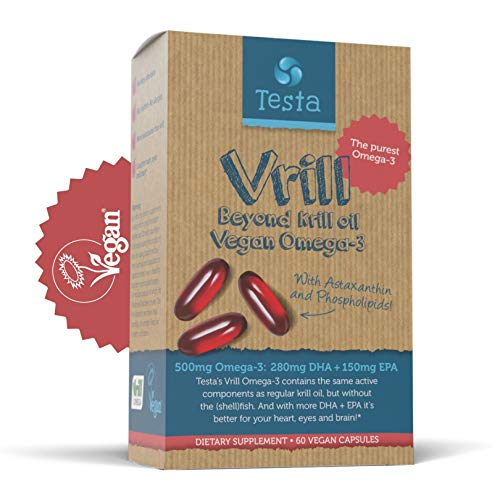 Vegan Omega 3 Krill Supplement – 100% Vegan Krill Oil - 1700mg with 620 mg phospholipids - 515 mg Omega-3 DHA + EPA and 1500 mcg astaxanthin. Plant-Based Omega-3- 60 Vegan softgels