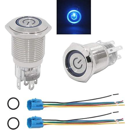 Hotsystem 16mm 12v Selbsthaltender Schalter Metall Led Beleuchtet Drucktaster Druckschalter Druckknopf Ein Ausschalter F R Auto Kfz Blau Auto