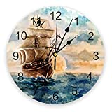 GAVA Reloj de pared para dormitorio, diseño de barco pirata, para cocina, sala de estar, dormitorio, decoración de pared, relojes colgantes