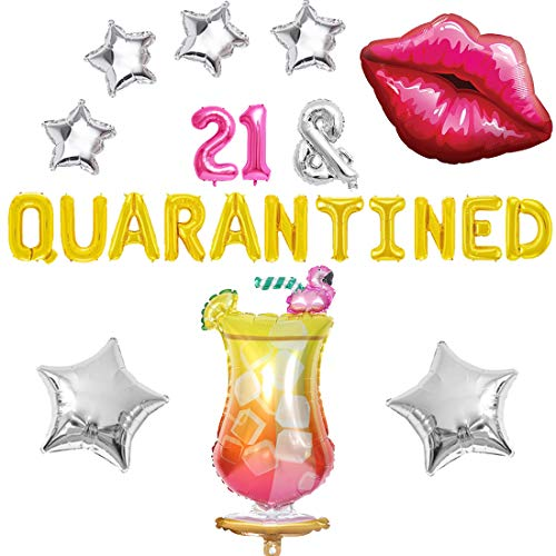 Quarantine 21st Birthday Decorations 21 and Quarantined Balloon Banner Red Lip Balloon for Social Distancing Party Supplies