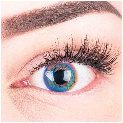 """Sehr stark deckende und natürliche blaue Kontaktlinsen SILIKON COMFORT NEUHEIT farbig """"Paradise Blue"""" + Behälter von GLAMLENS - 1 Paar (2 Stück) - DIA 14.20 - ohne Stärke 0.00 Dioptrien"""