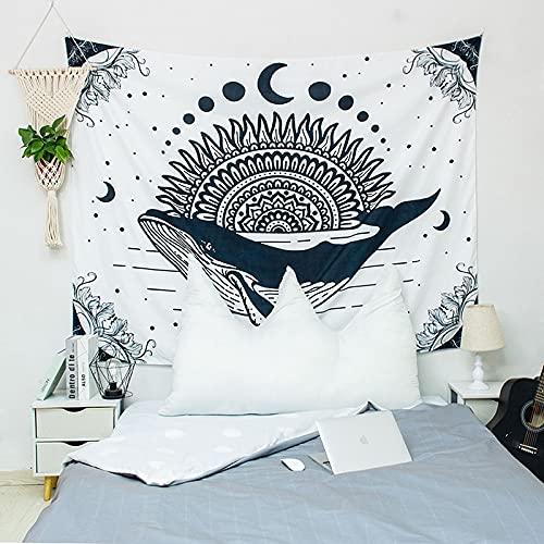 KHKJ Sun and Moon Mandala Tapestry Headboard Wall Art Bedspread Dorm Tapestry for Living Room Bedroom Home Decor A7 200x150cm