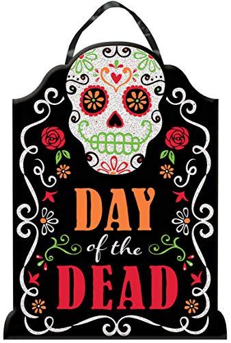 Amscan 241557-55 - Deko-Schild Tag des Todes, 1 Stück, mehrfarbig, Größe ca. 40,6 x 30,4 cm, aus MDF, mit Glitzer und Text Day of the Dead, mexikanischer Feiertag, Halloween-, Grusel- oder Mottoparty