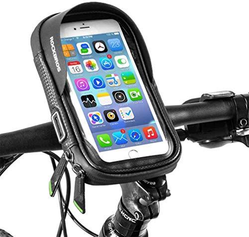 ROCKBROS Support de Téléphone Vélo Sacoche de Guidon VTT Écran Tactile Imperméable avec Housse de Pluie pour Smartphone sous 5,8/6,2 Pouces