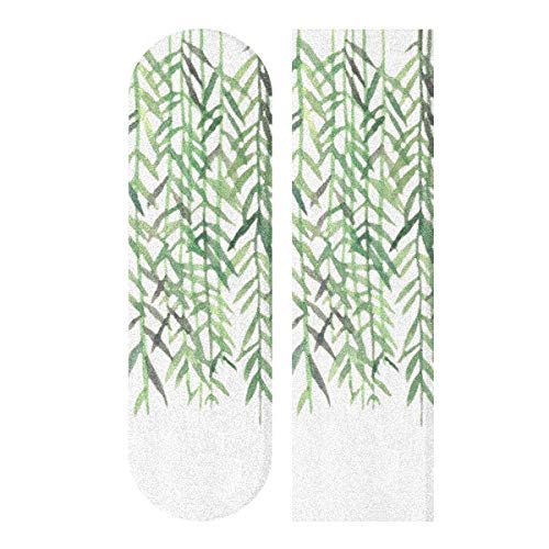 JEOLVP 33,1 x 9,1 Zoll Sport Outdoor Skateboard Griffband Green Willow Soft Long Branches Print Wasserdichtes Skateboard Griffband für Tanzbrett Double Rocker Board Deck 1 Blatt