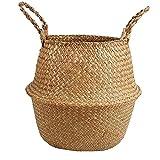 Seagrass Basket Archiviazione, Cesti Pancia con Maniglie Organizzatore per Lavanderia Picnic Grocery & Toy Bagagli Decorativo Coperta (22x20cm)