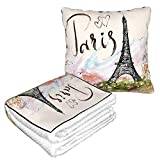 FUNINDIY The Famous Paris Eiffel Tower Travel Throw Blanket and Pillow - Premium Warm Soft 2 in 1 Large Compact Blanket Flannel Fleece Combo Blanket for Home Office or Trips