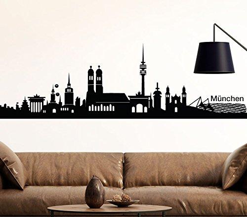 Wandtattoo-Günstig Wandaufkleber Skyline München I schwarz (BxH) 140 x 39 cm I Stadt Wohnzimmer Flur Küche Kinderzimmer Schlafzimmer Wandsticker Aufkleber Sticker G139
