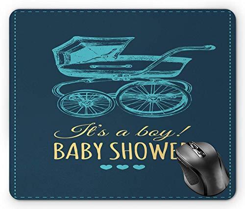 Baby Shower Mouse Pad, es ist ein Junge Baby Shower Typografie mit Retro Kinderwagen Petrol Blue Senf Pale Turquoise Mouse Pad