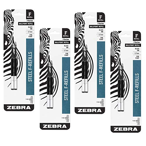 Value Pack of 4 - Zebra(R) Ballpoint F-Refills For F-301 Ultra,F-301 Pen, F-301 Compact, F-402 Pen, Fine Point, 0.7 mm, Black, 4 Pack = 8 refills