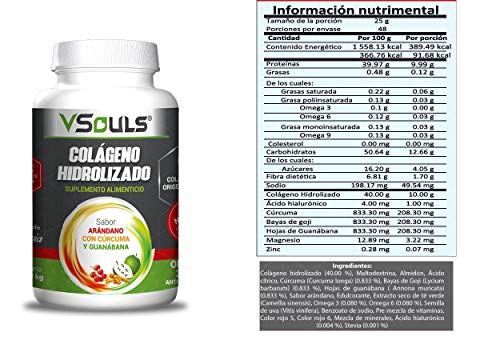 Colágeno Hidrolizado VSouls 1200 Gr. Sabor Arándano con Cúrcuma y Guanábana