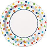 Unique Party - Platos de Papel - 18 cm - Diseño de Lunares de Arco Iris - Paquete de 8 (58254)