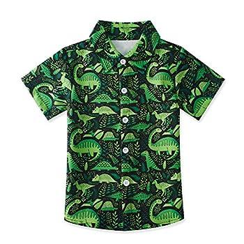 uideazone Boys Casual Button Down Shirts Kids Green Dinosaur Short Sleeve Tee Colorful Cartoon Print Dress Shirt Hawaiian Aloha Tops  Size 7-8T