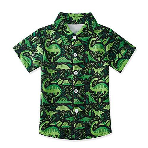 uideazone Little Big Boys Green Dinosaur Button Down Shirts Kids Short Sleeve Polo Shirt Beach Boys Blouses for Sons/Grandsons