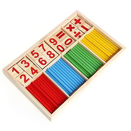 Integrity.1 Bloques de Madera de Juguete, Juguetes educativos Montessori, Barras de Inteligencia matemática, Tarjetas de Madera con números y contadores de Varillas con Caja