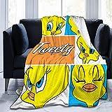 Manta de tela de alta calidad de Tweety Bird, ideal para hombres, mujeres, niños, niñas, sillas, sofás, camas, hogar, oficina, siesta, 127 x 152 cm