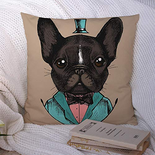 Decorative Polyester Throw Pillow Covers Design Bow Gentleman French Linear Bulldog Tuxedo Hand Man Drawn Beauty Fashion Doggy Tie Textures Square Pillow Covers for Couch Sofa Home Decor 18x18 Inch