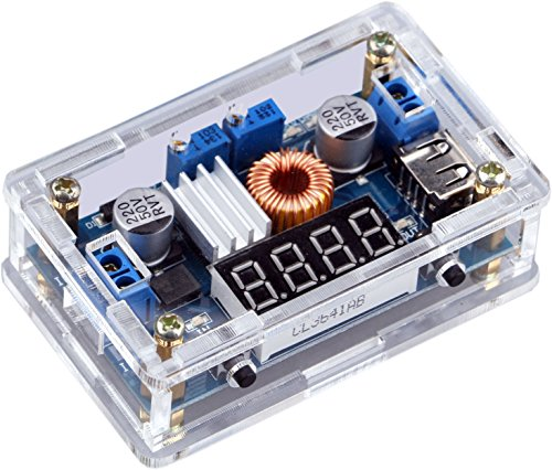 Yeeco Gleichstrom Buck Spannungsregler Netzteil Konstante Spannung & Strom Volt- & Amp Konverter 7-36V to 1.25-32V (Blue LED)