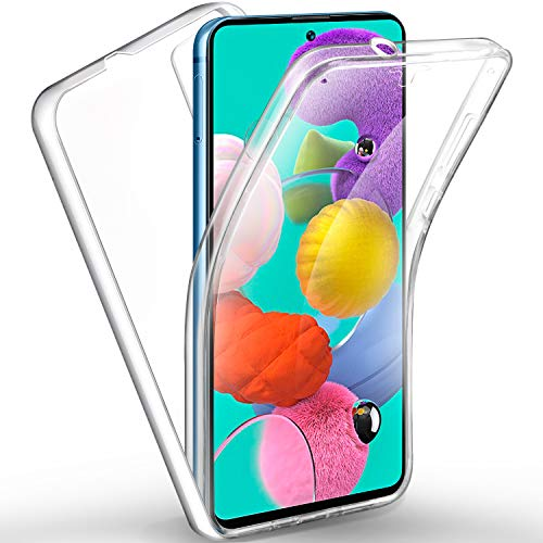 AROYI Funda Compatible con Samsung Galaxy A51, Ultra Slim Doble Cara Carcasa Protector Transparente TPU Silicona y PC Dura Resistente Anti-Arañazos Protectora Case Cover