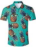 RAISEVERN Camisa Hawaiana con Estampado de piña Frutas Cortas Estilo Hip Hop de Verano, Juego de 2 Piezas Verde para Hombre