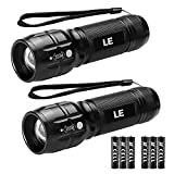 LE LED Tactical Flashlight High Lumens, Small and Extremely Bright Flash Light, Zoomable, Water Resistant, Adjustable Brightness for Camping, Running, Emergency, AAA Batteries Included(2 Packs)