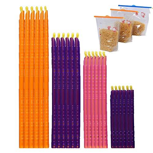 24 clips de cierre de plástico, clips para bolsa de alimentos, pinzas para bolsas de alimentos, clips para guardar aperitivos, bolsas de almacenamiento, 12 cm/18 cm/22,5 cm/28,5 cm
