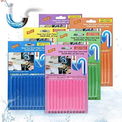 JOYXEON Limpiador de desagües Limpia Tuberias Drain Sticks Varilla de Limpieza,Mantiene Las tuberías de desagüe limpias y Libres de atascamientos, Elimina Olores y Desatasca- 72 pastillas