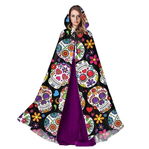 WYYWCY Dia De Los Muertos Blumenzuckerschädel Frauen Mantel Mit Kapuze Mantel Mit Kapuze 59 Zoll Für Weihnachten Halloween Cosplay Kostüme