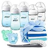 Philips Avent PP Flaschen Starter Set Jungen - 5 Baby Fläschchen (260 + 125 ml) mit Naturnah Sauger, 2 Schnuller, Flaschenbürste und Mullwindeln - Blau