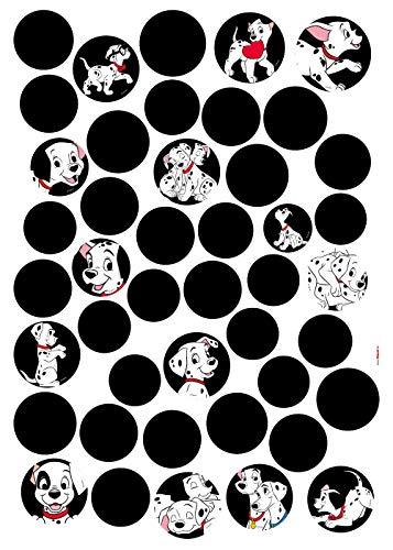 Komar Disney Deco-Sticker 101 Dalmatiner DOTS | Größe: 50 x 70 cm (Breite x Höhe) | Wandtattoo, Wand, Dekoration, Aufkleber, Sticker, Kinderzimmer - 14057h, Schwarz/weiß