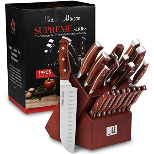 19-Piece Premium Kitchen Knife Set With Block | Master Maison German Stainless Steel Knives With...