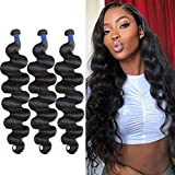 Body Wave Bundles 16 18 20 Inches Human Hair Bundles 10A Brazilian Body Wave Hair 3 Bundles Weave 100% Unprocessed Virgin Remy Hair Bundles Natural Color (16 18 20)