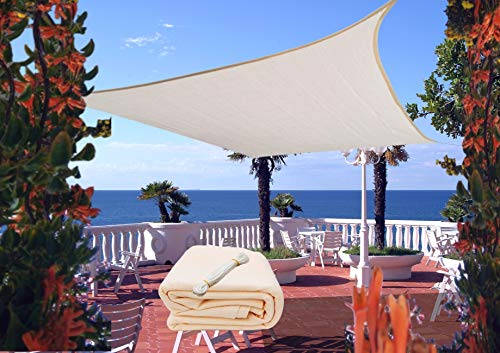 Rabbuz Ideas Toldo Vela de Sombra Rectangular 3 x 4 m, protección Rayos UV, Transpirable HDPE para Exteriores, Jardín,Patio o Terraza, Color Crema