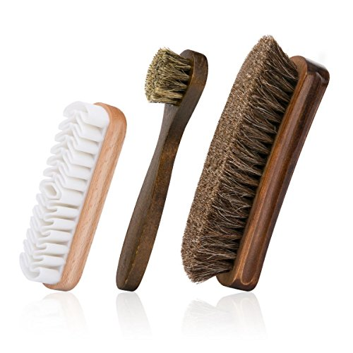 Foloda Shoes Brushes with Horsehair Bristles,Dauber Suede Brush for Leather, Boot