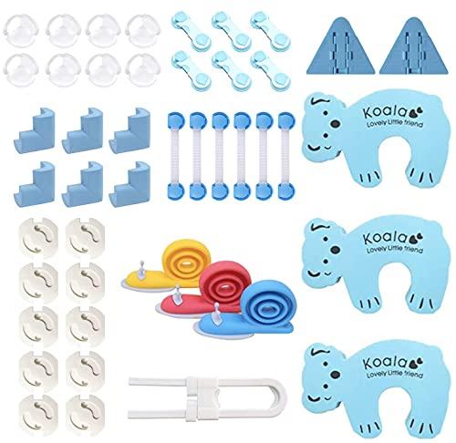FemKey 45pcs Kits de Seguridad para Bebés, 14 Protector Esquinas bebe, 12 Cerradura Seguridad, 10 Protector Enchufes bebes, 7 Topes de Puertas Seguridad, 2 Bloqueo Ventanas.