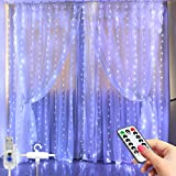 LED Window Curtain String Light -3MX2.8M 280 LED 8 Modes Fairy Lights with Hook Remote Control USB Powered Waterproof Copper Wire Decor Lights for Christmas Bedroom Party Wedding (White)