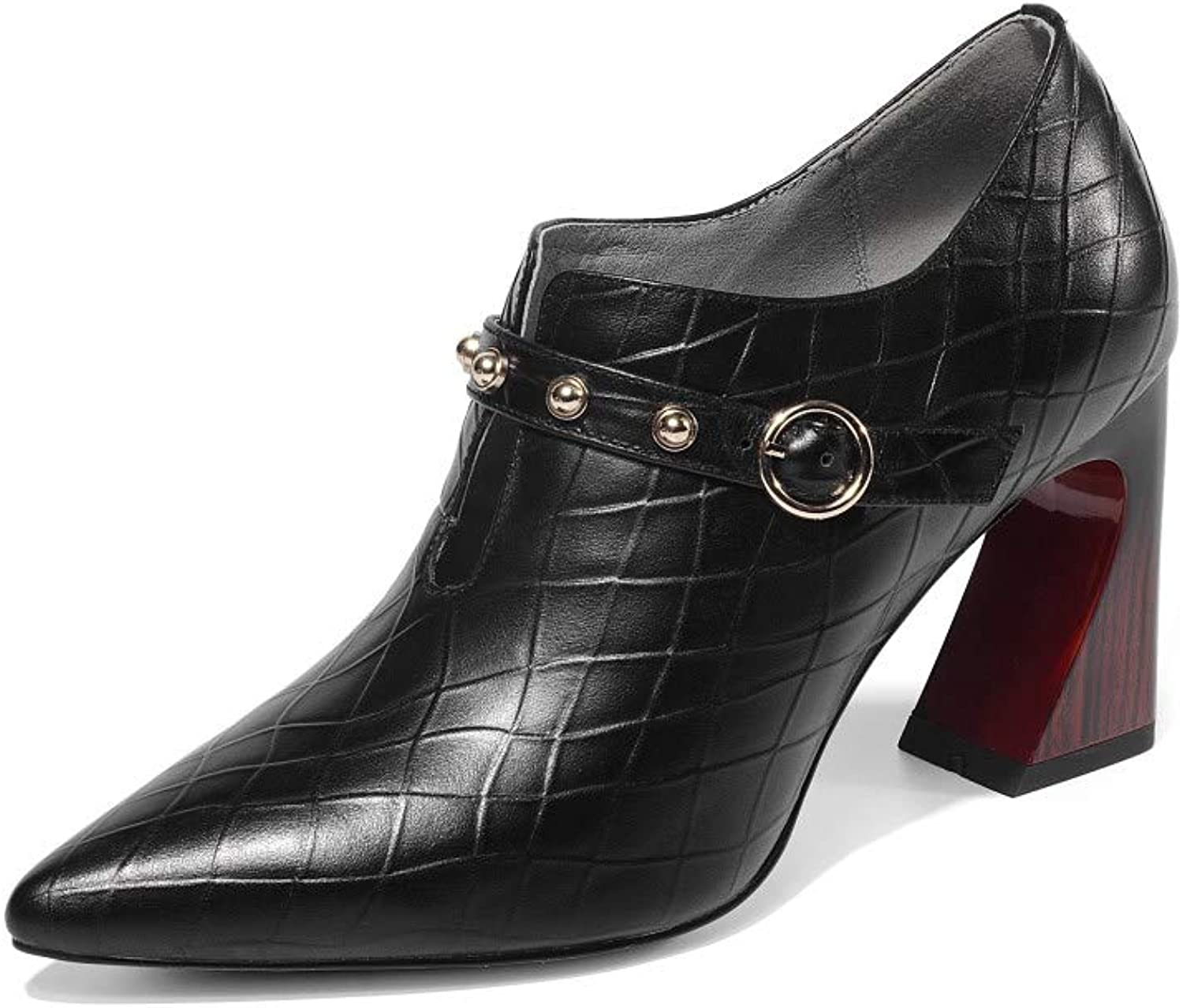 Nine Seven Women's Genuine Leather Pointed Toe Exquisite Mid Heel Handmade Elegant Slip On Buckle Strap Fashion Dress Ankle Boots