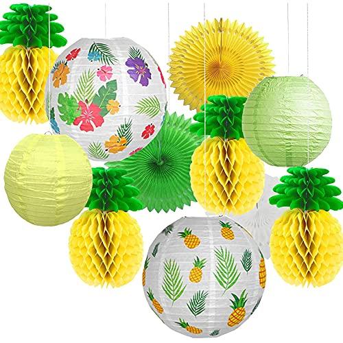 HawaianaFiestaDecoraciónfarolillosferia- Colorido Piñas de Papel Seda BolasdeNidodeAbejaCelebración Tiki verano/Carnaval/cumpleaños