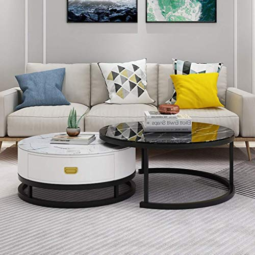 Tempered Glass Round Side Tea Coffee Table Sets Living Room Elegant Stacking Nesting End Table Bedroom Balcony Family and Office Furniture,28x18 inch+20x15 inch(x H)