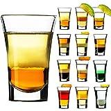 SZMMG - Set di 12 bicchierini da liquore in vetro, 4 cl, per whisky, tequila, vodka e liquori, lavabili in lavastoviglie