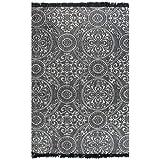 GJEFEGS vidaXL Kelim-Teppich Baumwolle 160x230 cm mit Muster Grau