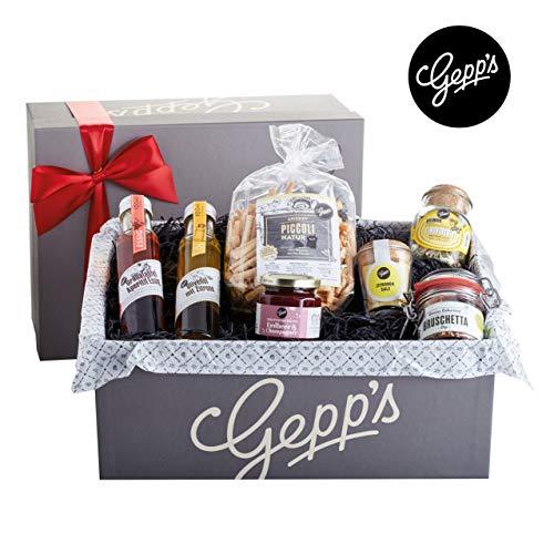 Gepp's Feinkost Geschenkbox Verwöhnpaket | Geschenkkorb gefüllt mit köstlichen Delikatessen, hergestellt nach eigener Rezeptur | Köstliches Gourmet-Geschenk für Frauen
